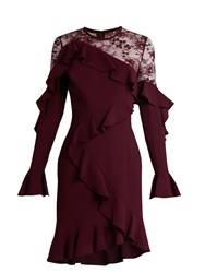 Elie Saab Lace Insert Ruffle Trimmed Dress Burgundy