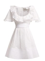 Valentino Ruffled Sangallo Lace Cotton Mini Dress White