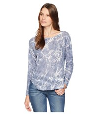 Nally And Millie Long Sleeve Marble Print Waffle Top Multi Clothing