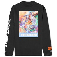 Heron Preston Long Sleeve Water Colours Print And Embroidery Tee Black