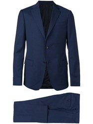 Z Zegna Checked Two Piece Suit Blue