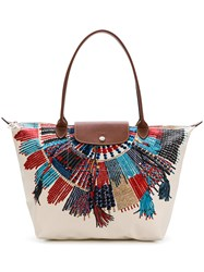 Longchamp Printed Details Tote Nude And Neutrals