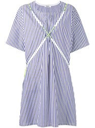 Marios Striped T Shirt Dress Women Cotton M Blue