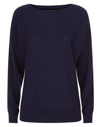 Jaeger Wool Cashmere Crew Sweater Navy