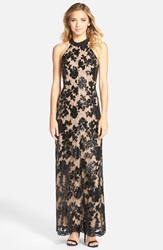 Dress The Population 'Valentina' Lace Halter Gown Black Nude