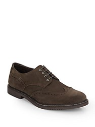 Saks Fifth Avenue Suede Brogue Oxfords Dark Brown