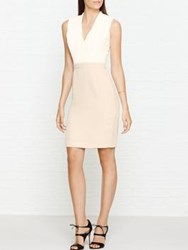 Reiss Lourdes Fitted Dress With Pin Tuck Top Cream White