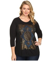 Lucky Brand Plus Size Watercolor Rug Tee Jet Black Women's T Shirt