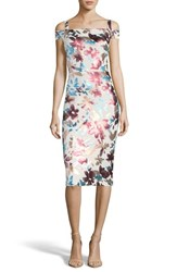 Eci Floral Cold Shoulder Sheath Dress Ivory Rose