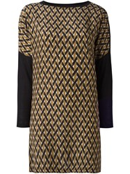 Agnona Geometric Pattern Shift Dress Black