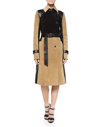 Ohne Titel Suede Leather Colorblock Belted Trenchcoat