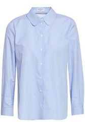Claudie Pierlot Catchy Cutout Striped Cotton Poplin Shirt Sky Blue
