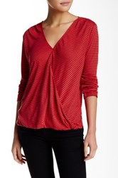 Velvet By Graham And Spencer V Neck Linen Blend Stripe Knit Tee Red