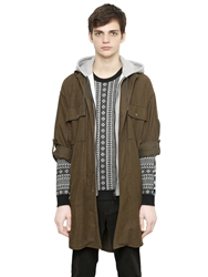 Miharayasuhiro Hooded Cotton Flannel Lightweight Jacket Brown