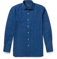 Tom Ford Slim Fit Cutaway Collar Cotton Shirt Blue