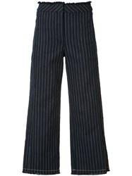 Alexander Wang Cropped Pinstripe Trousers Blue