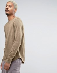 Asos Crew Neck Jumper With Curved Hem Camel Khaki Twist Brown