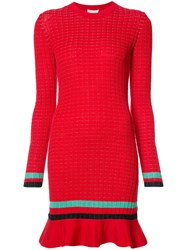 3.1 Phillip Lim Long Sleeve Knit Dress Red