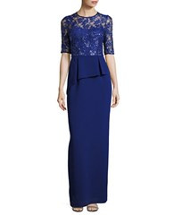 Teri Jon Sequined Lace Peplum Gown Royal Blue