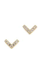 Elizabeth And James Edo Stud Earrings Gold White Topaz