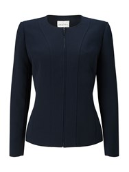 Eastex Zip Front Round Neck Jacket Navy