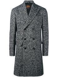 Tod's Tweed Double Breasted Coat Black