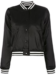 R 13 R13 Cropped Baseball Jacket Black