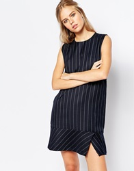 The Laden Showroom X Among Shift Dress In Pinstripe Navy
