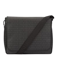 Armani Jeans Black All Over Logo Messenger Bag With Flap