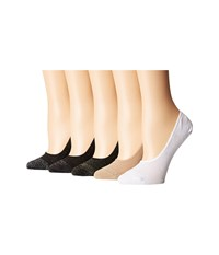Steve Madden 5 Pack Mesh Footie With Lurex Black Nude White Crew Cut Socks Shoes Multi