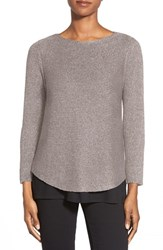 Women's Eileen Fisher Ballet Neck Linen Blend Knit Top Silver