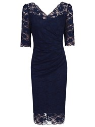 Jolie Moi Three Quarter Sleeve Scalloped Lace Dress Navy