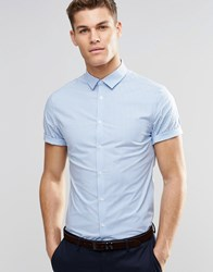Asos Skinny Shirt In Mini Blue Gingham With Short Sleeves Blue