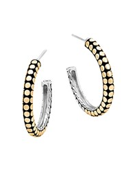 John Hardy 18K Yellow Gold And Sterling Silver Dot Small Hoop Earrings Silver Gold