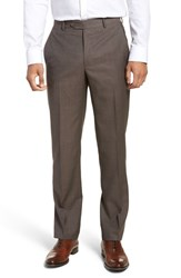 Santorelli Big And Tall Flat Front Solid Wool Trousers Dark Taupe