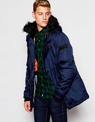 D Struct Coulton Fur Trimmed Parka Jacket Navy