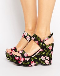 Warehouse Floral Print Platform Wedges Cherry Print Multi