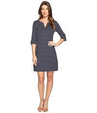 Hatley Peplum Sleeve Dress Navy White Women's Dress Blue