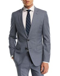 Boss Small Windowpane Two Piece Wool Suit Blue
