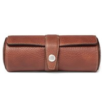 Brunello Cucinelli Full Grain Leather Watch Roll Tan