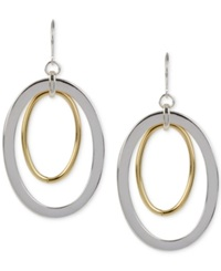 Hint Of Gold Oval Drop Earrings In Silver Plated And 14K Gold Plated Metal