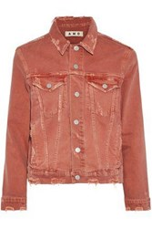 Amo Pop Distressed Printed Denim Jacket Coral