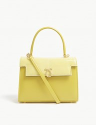 Launer Judi Lizard Leather Tote Yellow