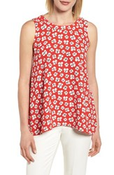 Anne Klein New York Floral High Low Swing Top Tomato Parchment Combo