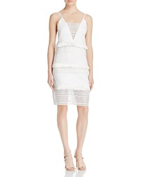 Three Floor White Desert Fringe And Geometric Eyelet Dress