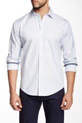 Lorenzo Uomo White Blue Navy Fine Stripes Long Sleeve Trim Fit Shirt