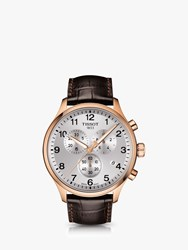 Tissot T1166173603700 'S Chrono Xl Classic Chronograph Date Leather Strap Watch Brown Silver