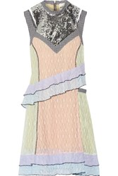 Sandy Liang Impala Sequin Embellished Gingham Trimmed Lace Dress Pink