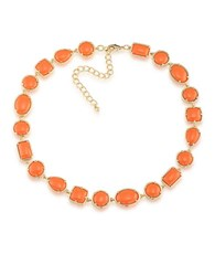 1St And Gorgeous Cabochon Multi Shape Flexible Collar Necklace In Orange Gold
