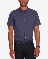 Nautica Men's Slim Fit Dobby Stripe Short Sleeve Shirt Peacoat
